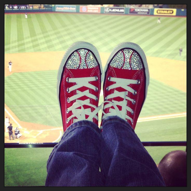Rhinestone baseball shoes