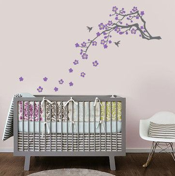 Cherry Blossom Branch Vinyl Wall Decal by In An Instant - asian - nursery decor - Etsy