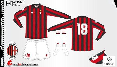 AC Milan home kit for 1993-94.