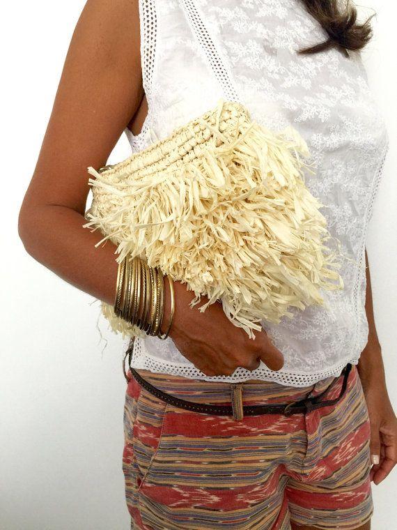 De Dama de honor embrague bolso de paja playa monedero por MOOSSHOP