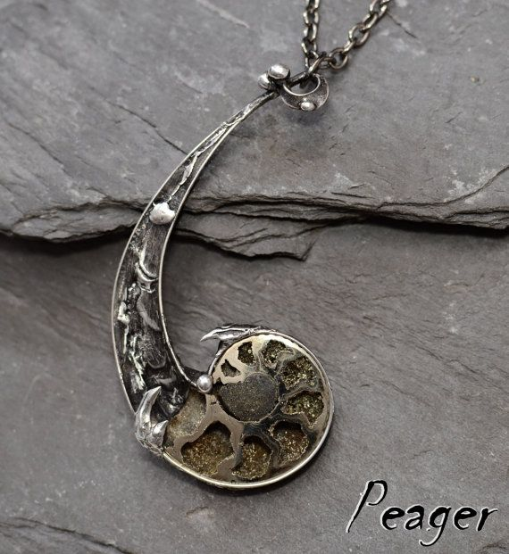 When you wish I can change, add or remove small objects !!  Handmade tiffany jewelry made of tin-silver with 160 million years old