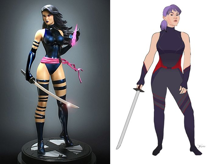 Psylocke; 12 Lady Superhero Costumes Redesigned by Ladies. I love how they suddenly look like people. :]