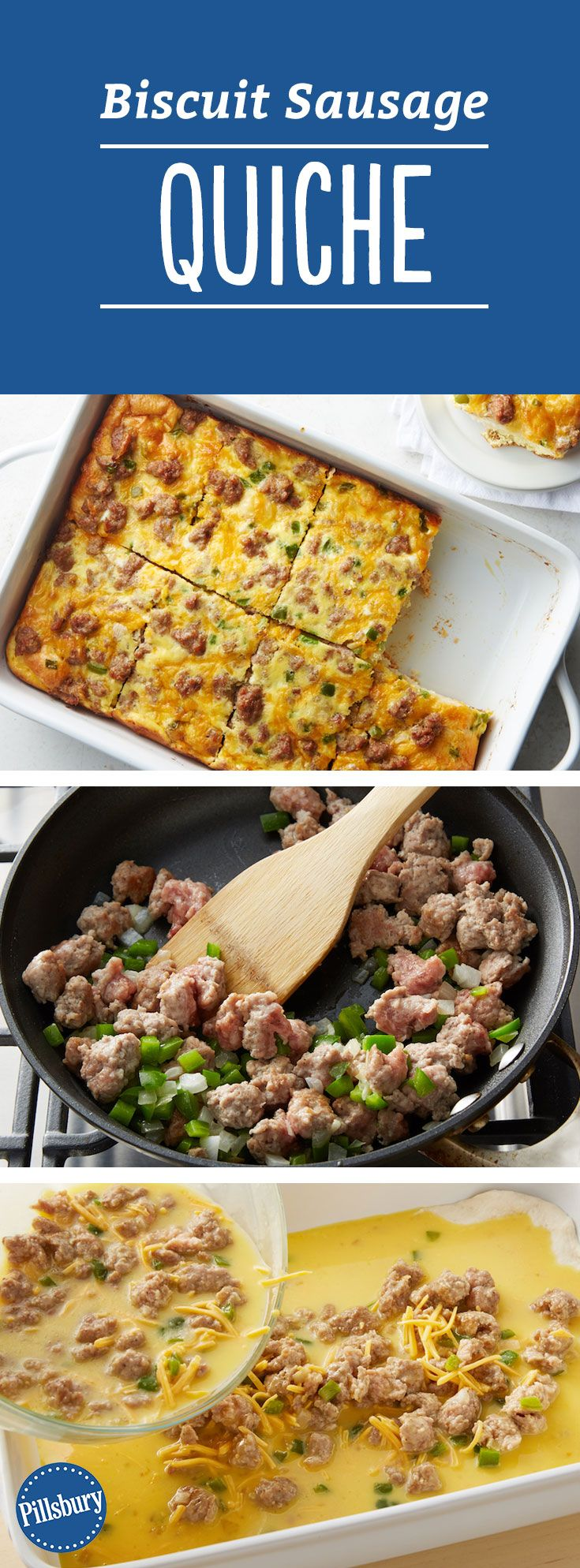 Biscuit Sausage Quiche: Flaky Pillsbury® Grands!® Biscuits make the crust in this easy breakfast bake.
