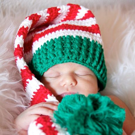 Gorro Elfo Navidad Verde Rojo Y Blanco Divertido Gorrito