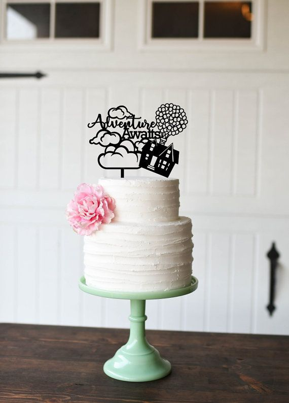 Adventure Awaits Wedding Cake Topper Custom by ThePinkOwlDesigns