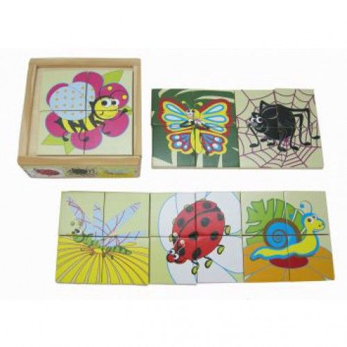 Insects Puzzle    Create five different small puzzles from within this one puzzle box.  Each of the five puzzles joins up to make the picture of an insect.