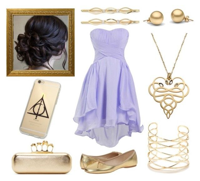 """""""S.S Formal : Golden Lilac Evening"""" by fantasyblast on Polyvore featuring Nine West, Alexander McQueen, BP., Just Cavalli and Lulu*s"""