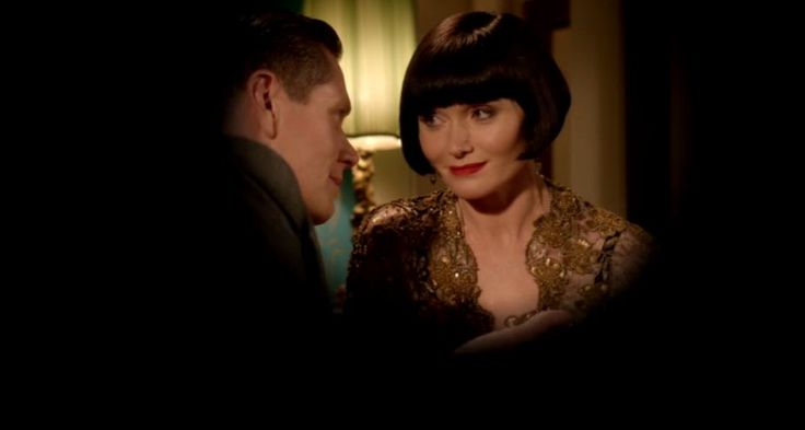 """""""That's strange. All I can see is another martini."""" Jack and Miss Fisher for Romantic Moment of the Week."""