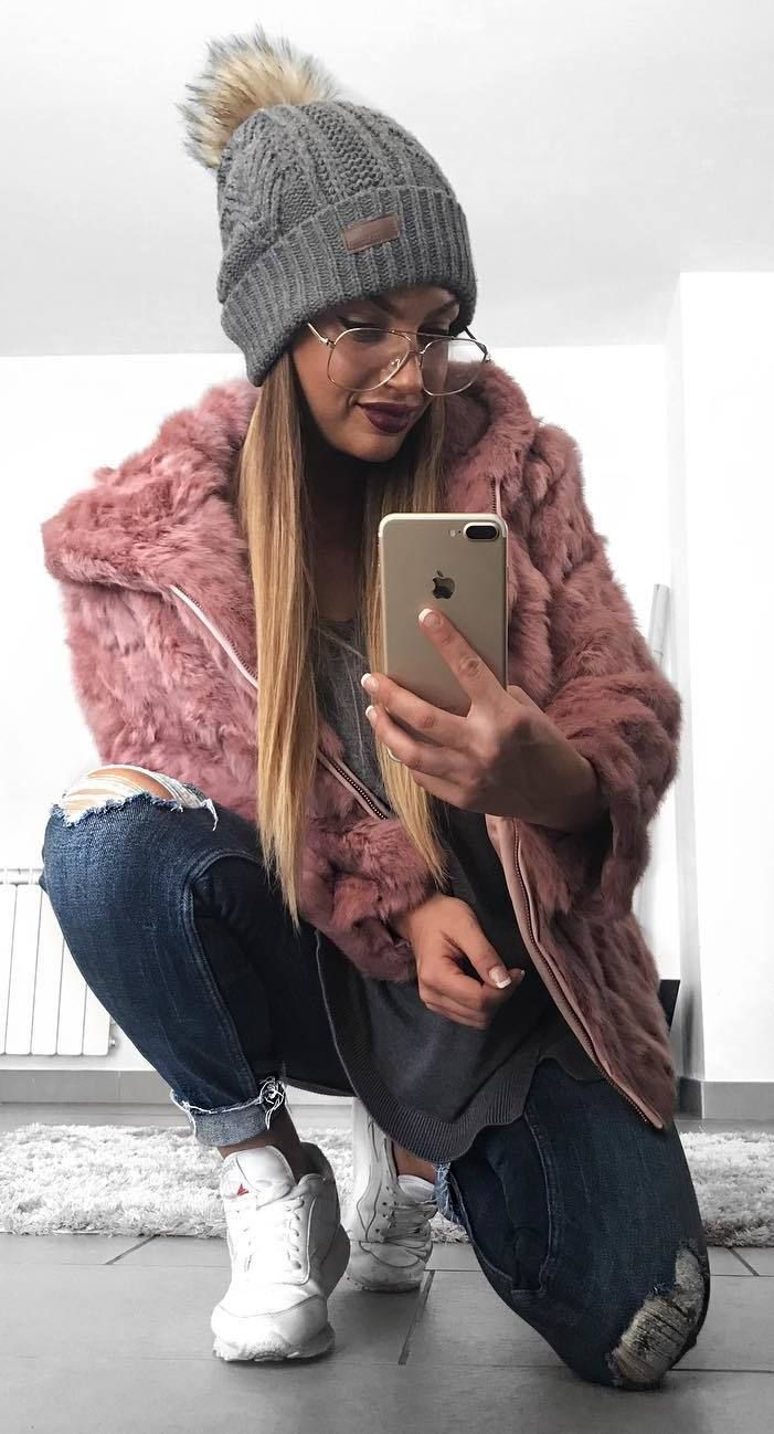 #winter #outfits grey shirt, pink coat, ripped crop jeans, white sneakers