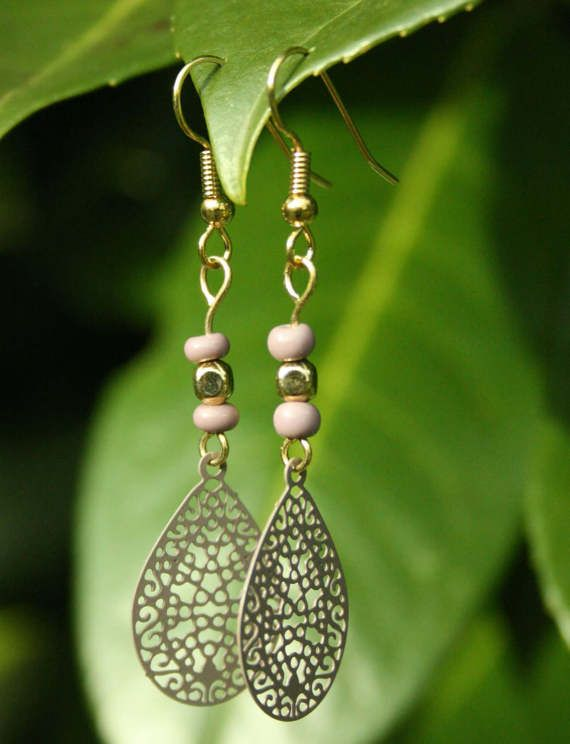 These lace-like drop earrings are the perfect delicate, unique gift.