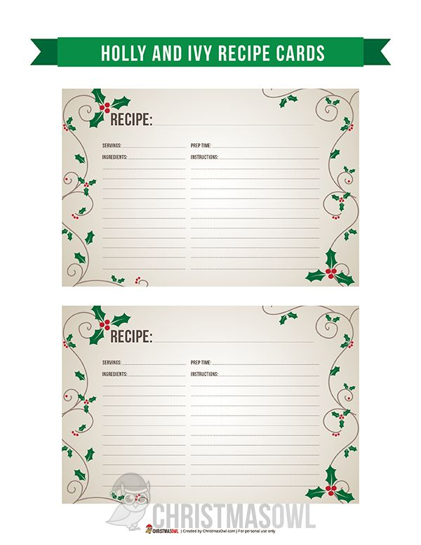 Free printable recipe cards featuring an elegant holly and ivy design. Download them at https://christmasowl.com/download/recipe-cards/holly-and-ivy/