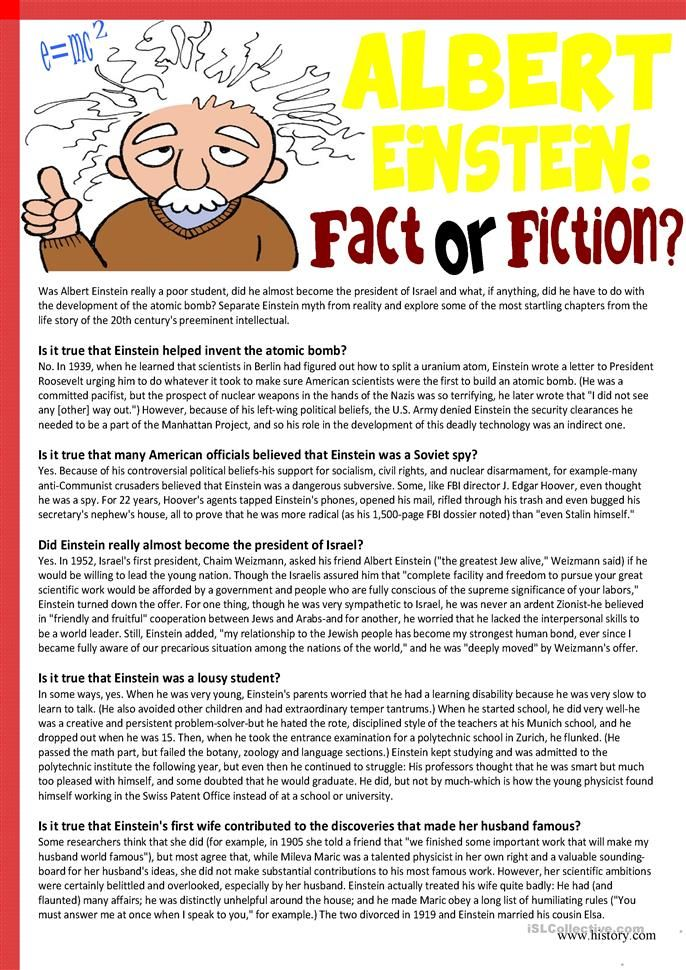 Albert Einstein Fact Or Fiction Reading Comprehension Lesson Worksheets Essay On