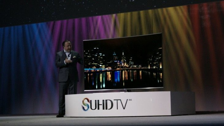 "Samsung touted today at CES it's new lineup of ""SUHD"" smart televisions for 2015 in sizes from 48″ to 88″ that run Tizen OS."