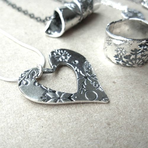 #Wintery #heart #necklace by Leisa Davis available in our #Whistler village store and online! #silver #handmade #handcrafted #unique #jewelry #art #Design