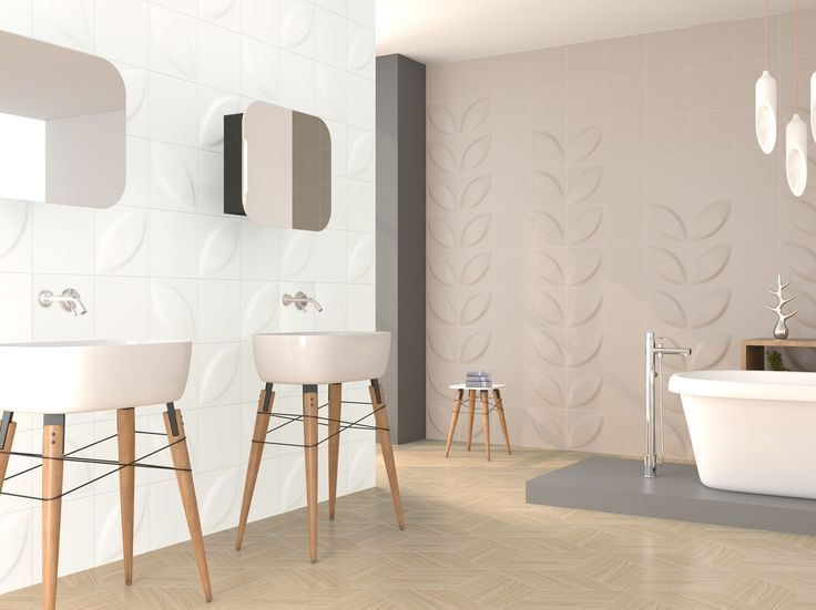 Ceramic 3D / raised / relief wall tiles with a natural looking design supplied by Exto