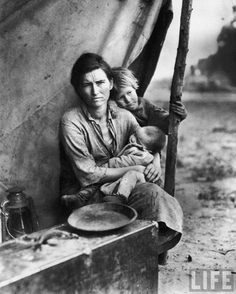 This image of Florence Thompson and her children, taken by Dorothea Lange, is from the same series of photos that produced Lange's iconic image of Thompson, one that could be the most famous photograph from the Great Depression