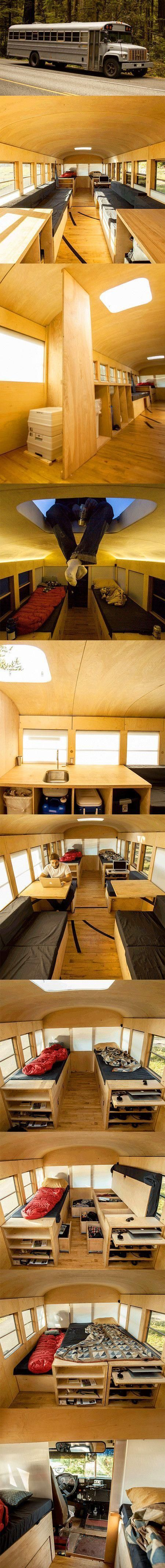Architecture student Hank Butitta converted old school bus into a 225 square foot mobile home with small kitchen, living room, and bedroom.: