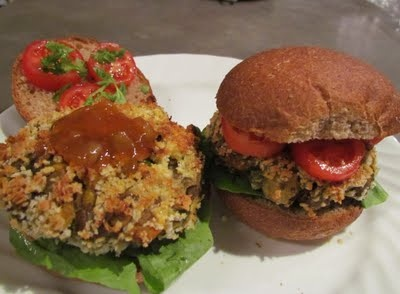 Indian-spiced vegetarian burgers