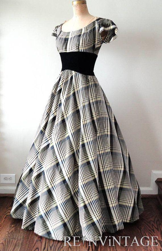 vintage 1930s dress 30s formal full skirt by shopREiNViNTAGE