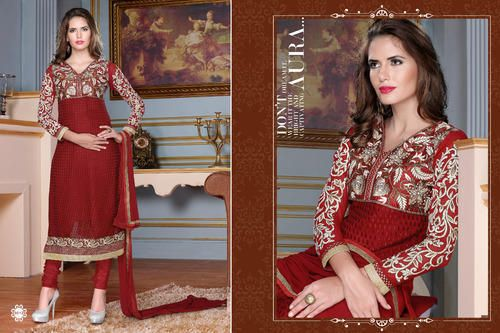 Ethnic Party Wear  Georgette Brasso Semi-Stitched straight cut Maroon Salwar suit with heavy thread embroidery. Comes with Santoon Inner And Bottom and Chiffon dupatta.