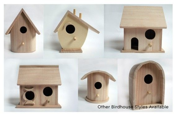 DIY Wooden Bird House- Unpainted Wood Birdhouse / Feeder. Includes Bird & Paint Set.. $10.00, via Etsy.