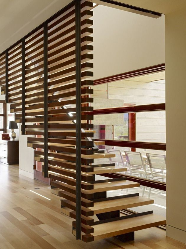 Floating Staircase With Horizontal Slats.