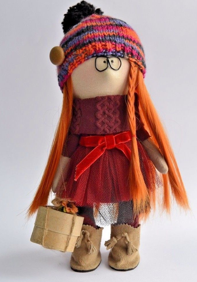 Textile doll interior stylish red-haired girl artist clothes dress size 11in #handmade