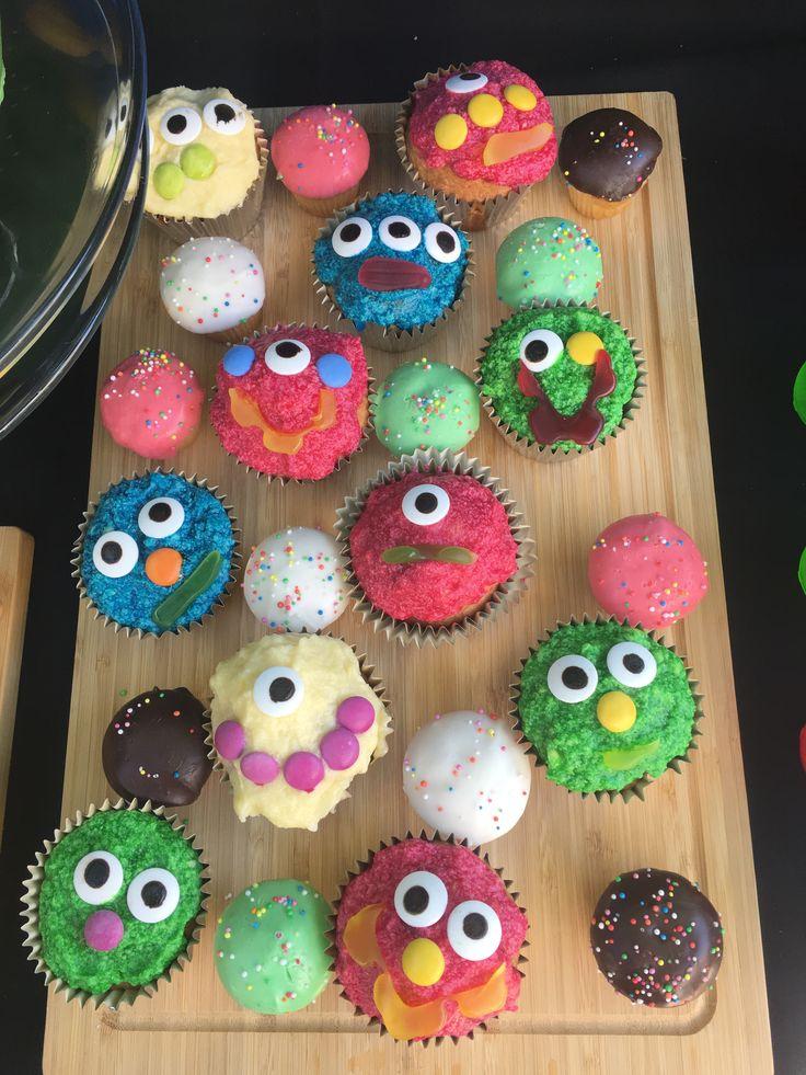 Kids cupcake making at monster party