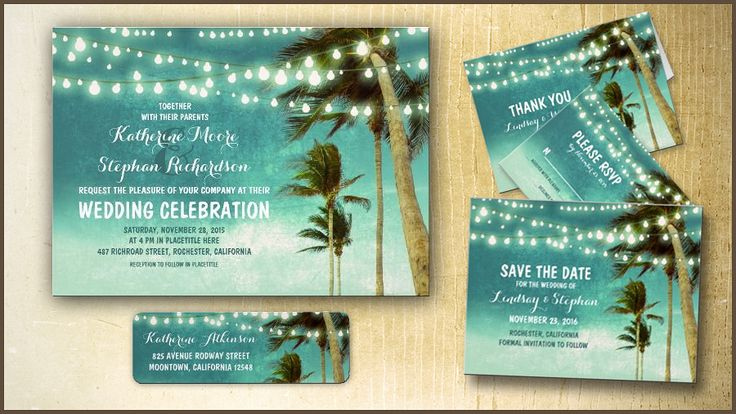 TEAL OMBRE BEACH WEDDING INVITATIONS WITH STRING LIGHTS hanging on the PALM TREES