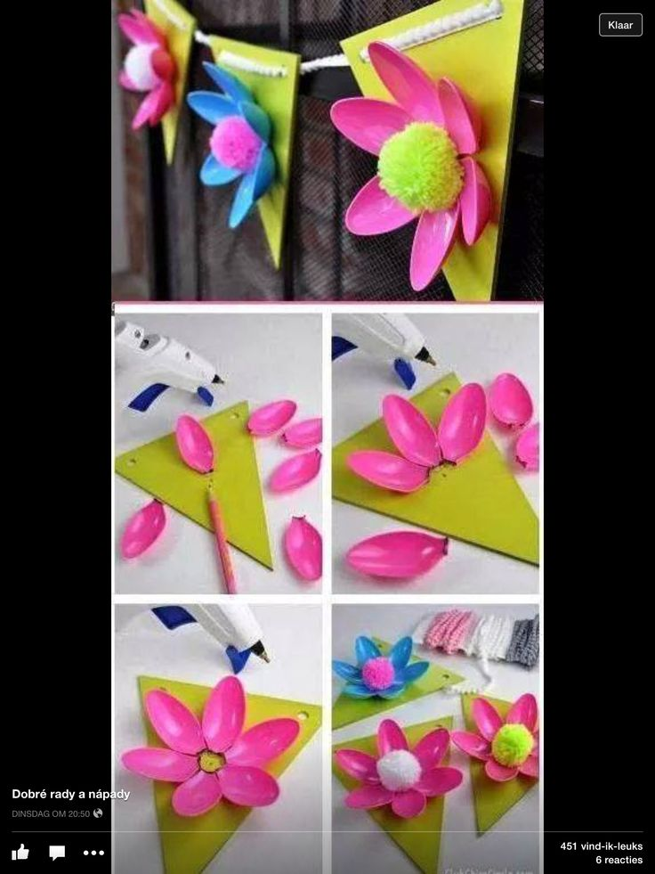 Bloemen slinger van plastic lepels