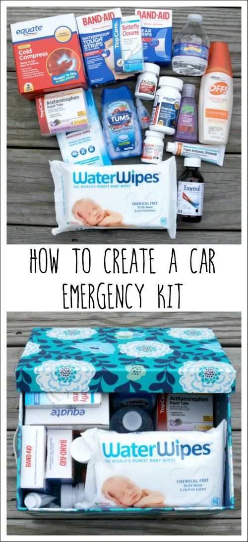 Learn how to create an emergency kit for your car that's stocked with medicine, first aid items, hand sanitizer, Water Wipes baby wipes and more! #WaterWipes #IC #ad