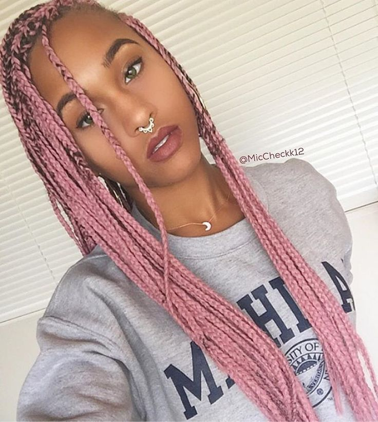 rosé | pink box braids | septum ring | afro hair | afro hairstyle