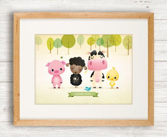 Farmyard animals art print nursery by IreneGoughPrints on Etsy, €11.95