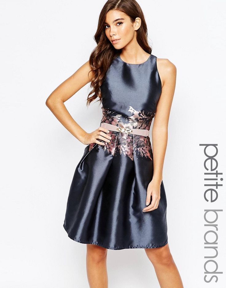Little Mistress Petite Prom Dress With Printed Waist Detail