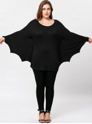 Plus Size Batwing Sleeve Tee - BLACK 2XL Mobile