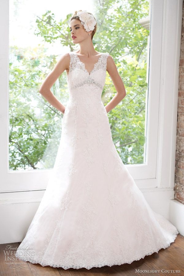 moonlight couture spring 2013 bridal sleeveless lace a line wedding dress h1211
