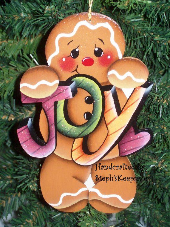 """Handpainted  Christmas Gingerbread  Cookie by stephskeepsakes!!! Bebe'!!! Love this cute """"Ginger""""!!!"""