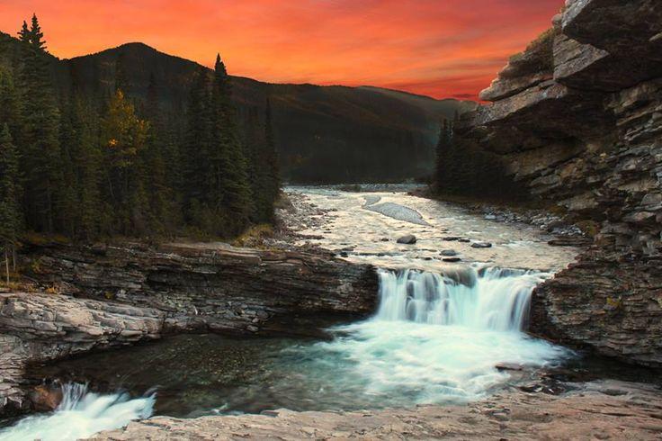 Sheep River Falls - Gorgeous autumn evening at Sheep River Falls near Turner Valley, Alberta