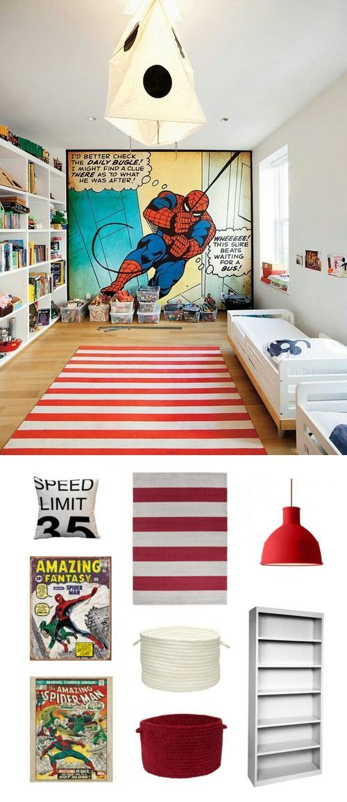In a simple setup with a bed, shelving and storage, big impact is made in a large wall mural to inspire play and a fun rug with lots of room to roam around.