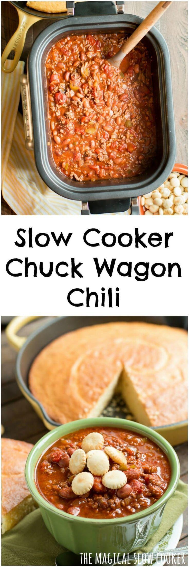 Slow Cooker Chuck Wagon Chili #chili #crockpot #slowcooker