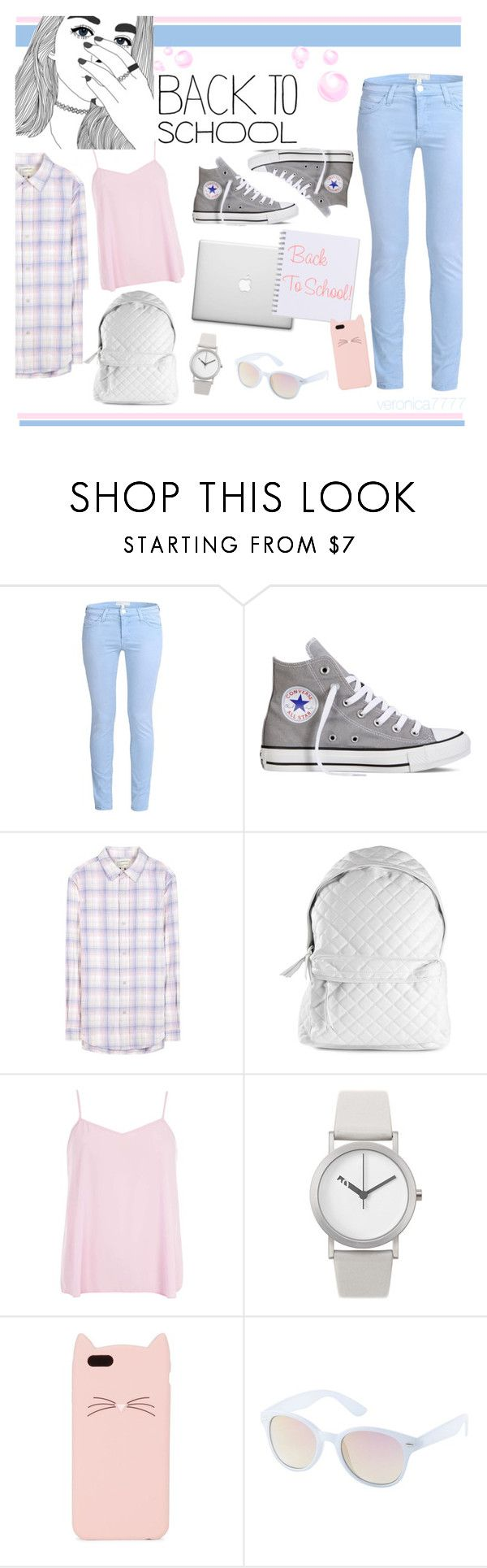 """back to school"" by veronica7777 ❤ liked on Polyvore featuring Current/Elliott, Converse, Stampd, Dorothy Perkins, Normal Timepieces, Kate Spade and Charlotte Russe"