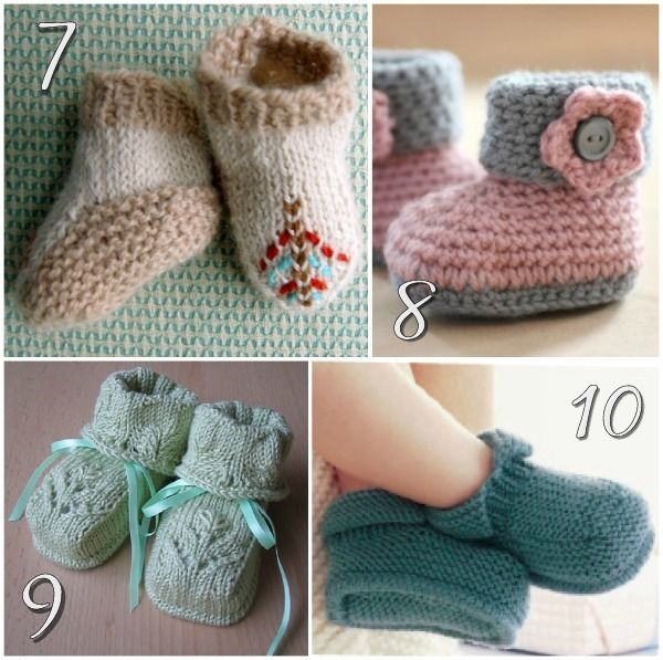 Soft and sweet baby booties - links to 10 free knitting patterns on Blissfully Domestic at http://blissfullydomestic.com/life-bliss/the-most-adorable-baby-booties-10-free-knitting-patterns-for-baby-shoes/135213/