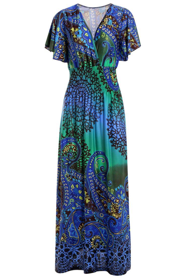 Women S Plunging Neck Butterfly Sleeve Bohemian Maxi Dress