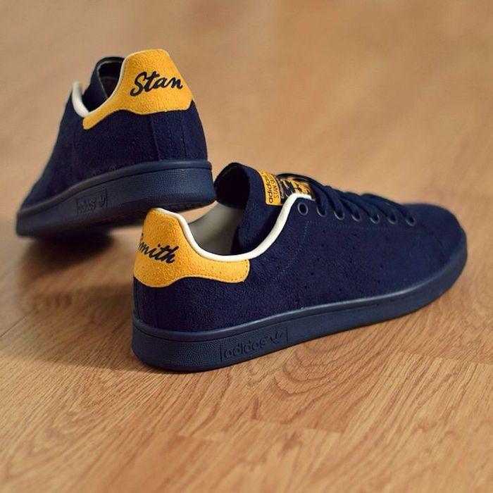 stan smith chaussures en cuir suède bleu et jaune serie limitée adidas original