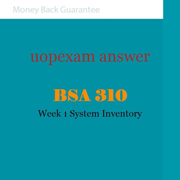 week 1 individual system inventory Bsa 310 week 2 individual control types assume that the it department of a business has hired you, and your first task is to ensure the department is following.