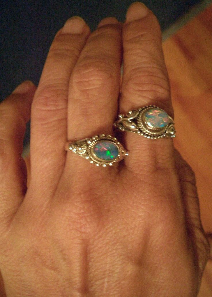Sz 8, 2 Styles: Genuine AUSTRALIAN FIRE OPAL Doublet Gemstones, 925 Solid Sterling Silver, Amazing Colors Ring Jewellery!! by Ameogem on Etsy