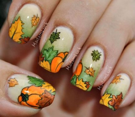 Nail Art How To, Nail Designs, Fall Nails, Pumpkins, MadamLuck | NailIt! Magazine