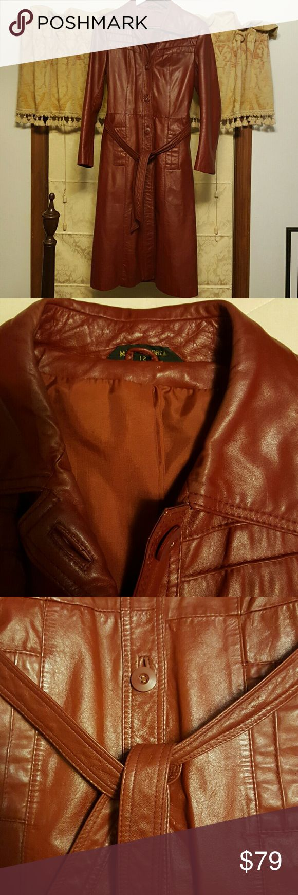 WOMEN'S LEATHER & SUEDE COATS AND JACKETS RED CLAY Full Length Leather Coat Made In Korea Made In KOREA  Jackets & Coats Trench Coats