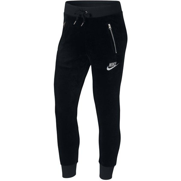 Nike Plus Size Sportswear Velour Pants ($65) ❤ liked on Polyvore featuring plus size women's fashion, plus size clothing, plus size pants, stretch trousers, tapered leg pants, nike trousers and nike