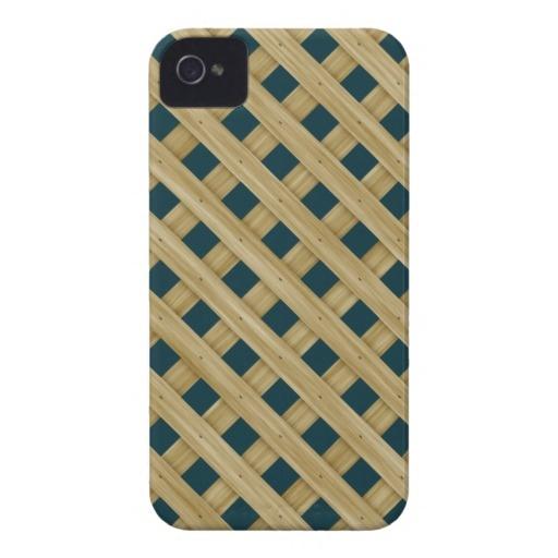Wood Lattice On Blue Spruce. Chic Pattern iPhone 4 Case